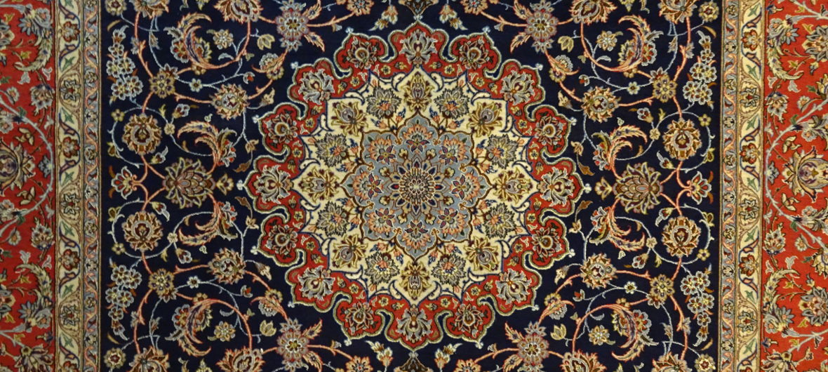 Detail of a medallion of a handmade Isfahan carpet at El Kahhal Carpets Cairo - Custom-made carpets